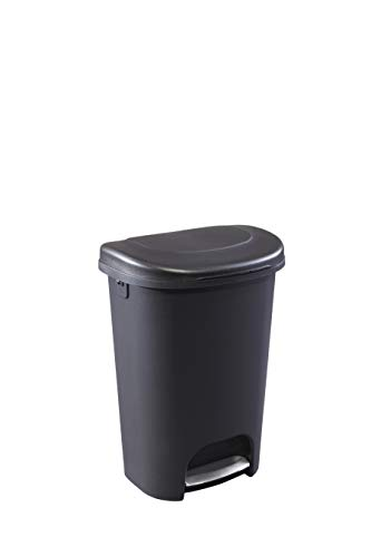 Rubbermaid Classic Step-On Lid Trash Can for Home, Kitchen, and Bathroom Garbage, 13 Gallon, Black