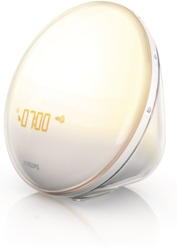 Philips SmartSleep HF3520/60 Wake-Up Light Therapy Alarm Clock with Colored Sunrise Simulation and Sunset Fading Night Light, White