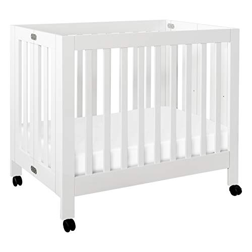 Babyletto Origami Mini Portable Crib Folding with Wheels in White, 2 Adjustable Mattress Positions, Greenguard Gold Certified