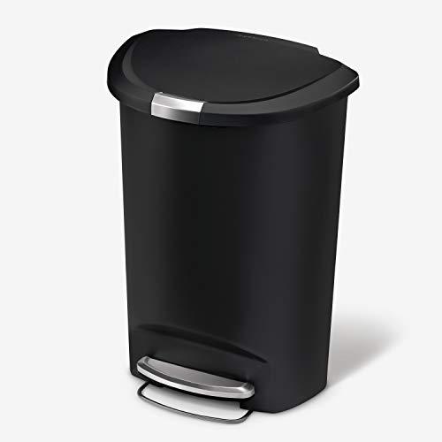 simplehuman, Black 50 Liter / 13 Gallon Semi-Round Kitchen Step Trash Can, Plastic With Secure Slide Lock