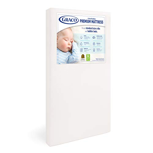 Graco Premium Foam Crib and Toddler Mattress, White – Ships Compressed in Lightweight Box, Ideal Mattress Firmness, Featuring Soft, Water-Resistant, Removable, Hand-Washable Outer Cover