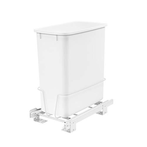 Rev-A-Shelf RV-814PB 20-Quart Undermount Vanity Kitchen Cabinet Pullout Waste Container, White