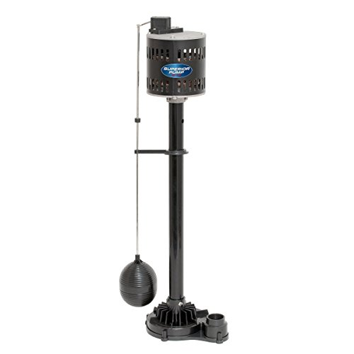 Superior Pump 92333 1/3 HP Thermoplastic Pedestal Sump Pump, Black