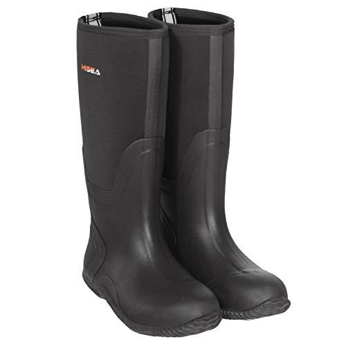 HISEA Rain Boots Waterproof for Men Black