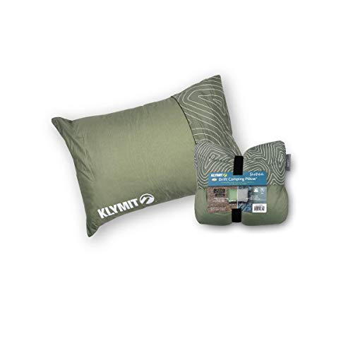 Klymit Drift Camping Pillow, Reversible Cover for Travel and Sleep, Shredded Memory Foam Comfort with Durable Shell (Large-Green)