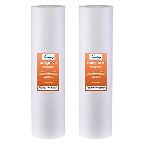 """iSpring FP25BX2 High Capacity 20"""" x 4.5"""" Water Replacement Cartridges Fine Sediment Filters, 2 pieces / 5 microns, White, 2 Count"""