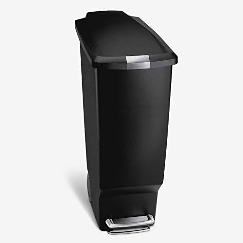 simplehuman Rectangular Slim Plastic Step Can, 40 Liter, Black