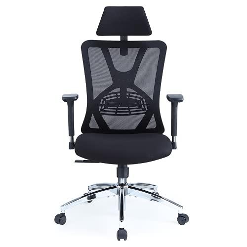 Ticova Ergonomic Office Chair - High Back Desk Chair with Adjustable Lumbar Support, Headrest & 3D Metal Armrest - 130° Rocking Mesh Computer Chair