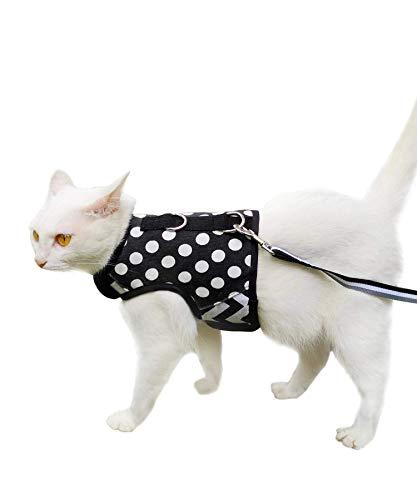 Yizhi Miaow Kitty Harness and Leash for Walking Escape Proof, Adjustable Kitty Walking Jackets, Padded Stylish Kitty Vest Polka Dot Black X-Small