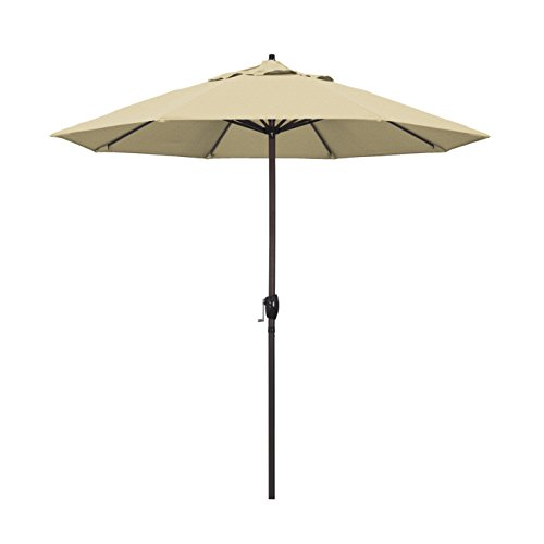 California Umbrella ATA908117-F67 Casa Series Market, Crank Lift, Auto Tilt, Bronze Pole, Patio Umbrella, 9' Round, Champagne