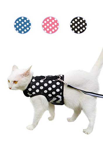 Yizhi Miaow Escape Proof Kitten Harness with Leash X-Small, Adjustable Kitten Walking Jackets, Padded Kitten Vest Polka Dot Black