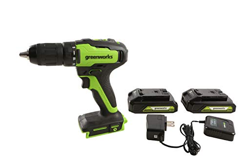 Greenworks 24V 2-Speed Cordless Compact Drill, Two 2.0 AH Batteries included 37012B