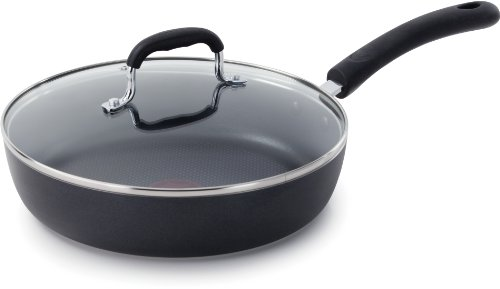 T-fal E93897 Dishwasher Safe Cookware Fry Pan with Lid, 10-Inch, Black