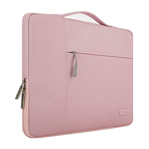 MOSISO Laptop Sleeve Compatible with 13-13.3 inch MacBook Air, MacBook Pro, Notebook Computer, Polyester Multifunctional Briefcase Bag, Pink
