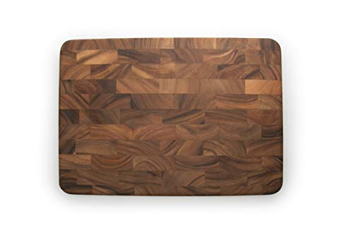 Ironwood Gourmet Large End Grain Prep Station Acacia Wood Cutting Board, 14 x 20-Inch, Brown
