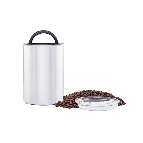 Airscape Coffee and Food Storage Canister - Patented Airtight Lid Preserve Food Freshness with Two Way Valve, Stainless Steel Food Container, Medium 7-Inch Can, Brushed Steel