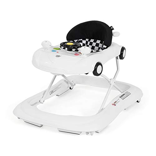 BABY JOY Baby Walker, Activity Walker with Adjustable Height & Lights, Music, Steering Wheel, Mirrors, Removable Play Tray to Food Tray, High Back Padded Seat, Compact Folding Design (White)