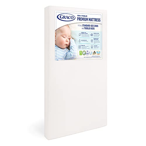 Graco Premium Foam Crib & Toddler Mattress – 2021 Edition, GREENGUARD Gold and CertiPUR-US Certified, 100% Machine Washable, Breathable, Water-Resistant Cover, Ideal Firmness for Infants