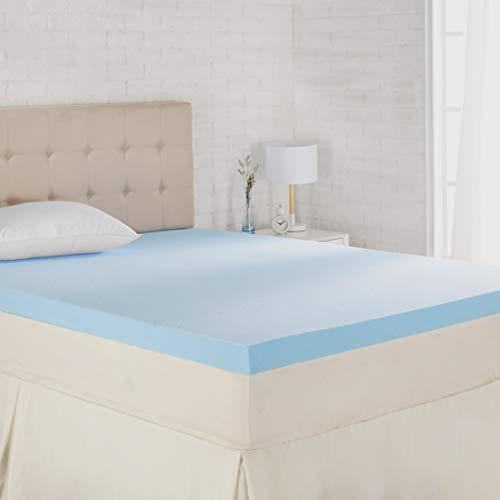 Amazon Basics Cooling Gel-Infused Memory Foam Mattress Topper - Ventilated, CertiPUR-US Certified Foam, 3-Inch - Queen