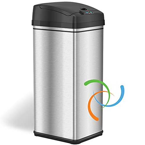 iTouchless 13 Gallon Automatic Trash Can with Odor-Absorbing Filter and Lid Lock, Power by Batteries (not included) or Optional AC Adapter (sold separately), Black/Stainless Steel