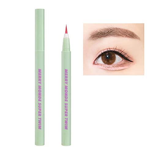 Merry Monde Multicolor Super Slim Long Lasting Eyeliner Vegan Easy Ultra-Fine Felt Tip Pen Liquid Korean K Beauty Waterproof Mechanical Eye Liner Makeup (Salmon Pink)