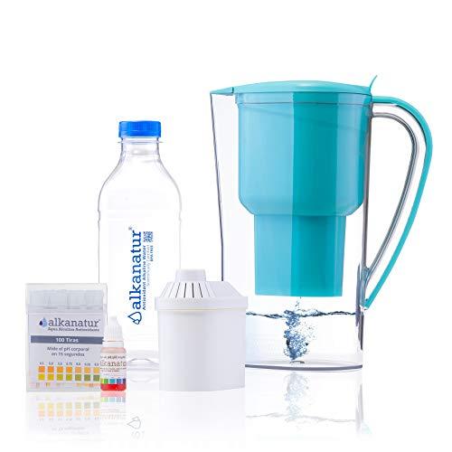 Alkanatur Alkaline Water Filter Pitcher removes Fluorides, Chlorine, Sodium, impurities, etc, Alkaline, Ionized, Hydrogenated Water, high pH of 9.5, adds Magnesium - Most Certified Pitcher BPA Free