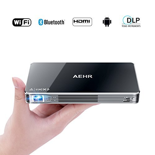 Mini Projector,Portable Pico Video Projector Android 7.1 for iPhone and Android phone,HD 1080P 120' Home Theater,Support Wired and Wireless Same Screen by AEHR