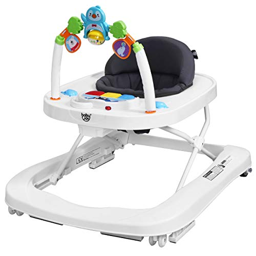 BABY JOY Baby Walker, 2 in 1 Foldable Activity Walk Behind Walker with Adjustable Height & Speed, Friction Control Functions, High Back Padded Seat, Music, Detachable Penguin Play Bar (Gray)