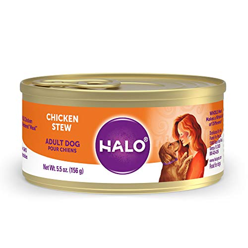 Halo Natural Wet Dog Food - Premium and Holistic Whole Meat Chicken Stew - 5.5oz Can (Pack of 12) - Sustainably Sourced Adult Dog Food that's non-GMO, BPA Free, and Highly Digestible