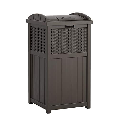 Suncast 33 Gallon Hideaway Can Resin Outdoor Trash with Lid Use in Backyard, Deck, or Patio, 33-Gallon, Brown