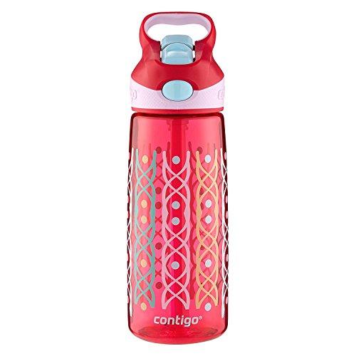 Contigo AUTOSPOUT Straw Striker Kids Water Bottle, 20 oz, Ruby Dot Weave