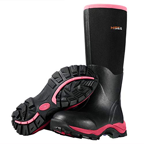 HISEA Women's Hunting Boots Insulated Rubber Boots Waterproof Muck Neoprene Boots Outdoor Black