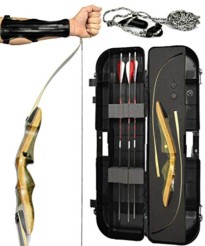 Spyder Takedown Recurve Bow - Ready 2 Shoot Archery Set | INCLUDES Bow, Instructions, Premium Carbon Arrows, Recurve Bow Case, Stringer Tool, Armguard, FREE GIFT | 45 lb RH -red