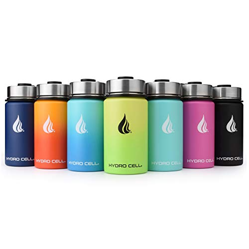 HYDRO CELL Stainless Steel Water Bottle w/ Straw & Wide Mouth Lids (64oz 40oz 32oz 24oz 18oz 14oz) - Keeps Liquids Hot or Cold with Double Wall Vacuum Insulated Sweat Proof Sport Design