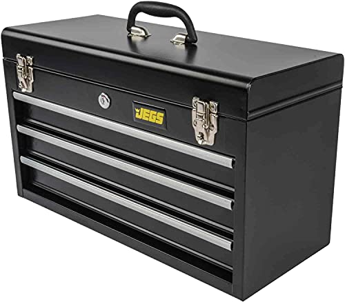 JEGS 3-Drawer Portable Toolbox   Ball-Bearing Drawer Slides   Rust-Resistant Latches   Black Powder Coat Finish   Includes Lock and Keys