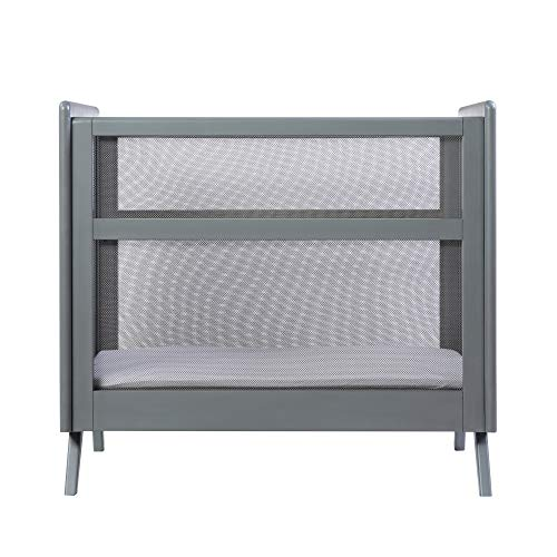 BreathableBaby Breathable Mesh 2-in-1 Mini Crib with Mattress — Gray, Two Adjustable Mattress Heights, Greenguard Gold Certified