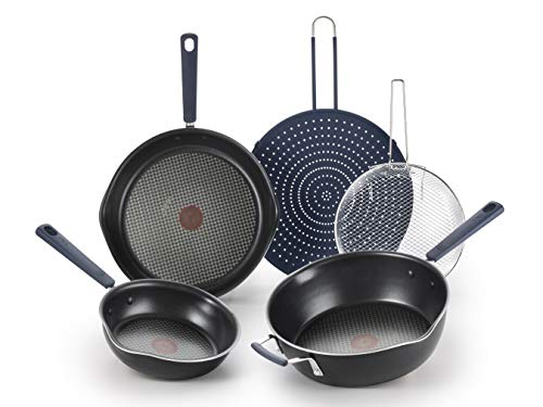 T-fal All In One Stackable 5 Pcs Pan Set, Cookware Set, Titanium Nonstick, Multi-Functional, Black