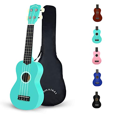 POMAIKAI Soprano Wood Ukulele Rainbow Starter Uke Hawaii kids Guitar 21 Inch with Gig Bag for kids Students and Beginners (Blue)