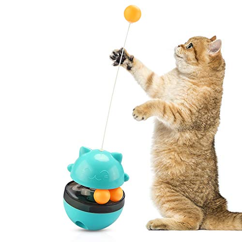 M V VOIMAKAS Interactive Cat Toy, Cat Tumbler Food Dispenser Toy with Teasing Wand, Fun Trackball Self-Playing Puzzle Toy for Pet.