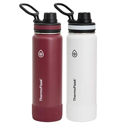 ThermoFlask Double Wall Vacuum Insulated Stainless Steel Water Bottle 2-Pack (Merlot/White)