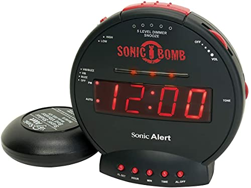 Sonic Bomb Dual Extra Loud Alarm Clock with Bed Shaker, Black   Sonic Alert Vibrating Alarm Clock Heavy Sleepers, Battery Backup   Wake with a Shake