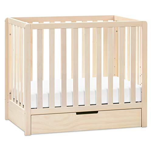 Carter's by DaVinci Colby 4-in-1 Convertible Mini Crib with Trundle Drawer in Washed Natural, Greenguard Gold Certified, Undercrib Storage