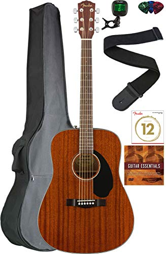 Fender CD-60S Solid Top Dreadnought Acoustic Guitar - All Mahogany Bundle with Gig Bag, Tuner, Strap, Strings, Picks, Austin Bazaar Instructional DVD, and Polishing Cloth
