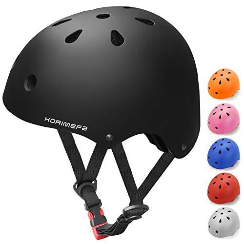 KORIMEFA Kids Bike Helmet Toddler Helmet Adjustable and Multi-Sport Skateboard Helmet for Boys Girls Cycling Helmet Impact Resistance Ventilation Helmets Outdoor Sports (Black)