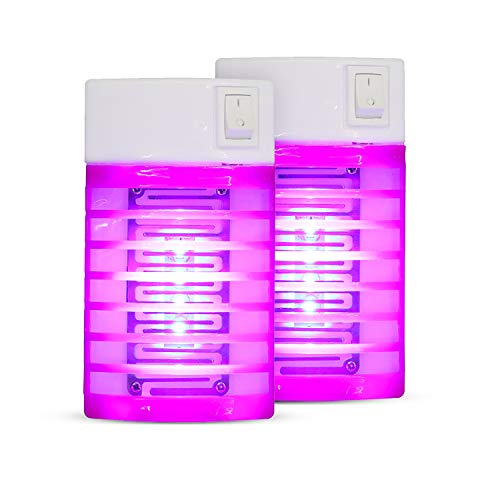 BFVV 2 Pack Bug Zapper Plug-in Mosquito Trap with UV Light Electric Insect Repellent Non-Toxic LED Mosquito Killer Night Lamp for Mosquitoes Fruit Flies and Flying Gnats