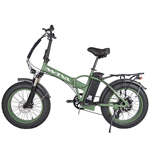 Adult Electric Bike, 20 Inch Fat Tire Folding Electric Bicycles 48V 750W Motor 13AH Lithium-Ion Battery, Beach Snow Hunting City 7 Speed Cycling E-Bikes for Women Men (Green)