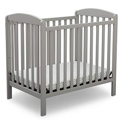 Delta Children Emery Mini Convertible Baby Crib with 2.75-inch Mattress, Grey