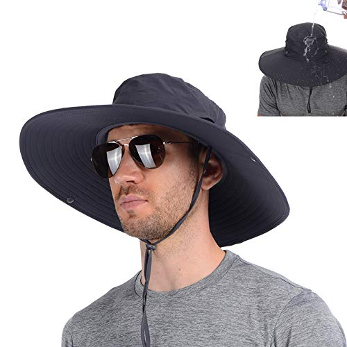 USHAKE Super Wide Brim Fishing Sun Hat Water Resistant Bucket Hat for Men or Women Dark Grey