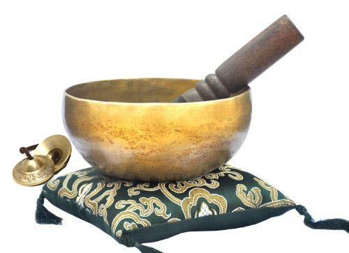 6' Tibetan Singing Bowl ~ Handmade ~ Superb B Crown Chakra Bowl for Meditation, Yoga, Healing, Mindfulness, Relaxation ~ Cushion & Mallet Included