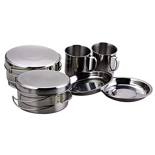 BeGrit Backpacking Camping Cookware Mini Picnic Camp Cooking Cook Set for Hiking (8pcs/set, 410 Stainless Steel)